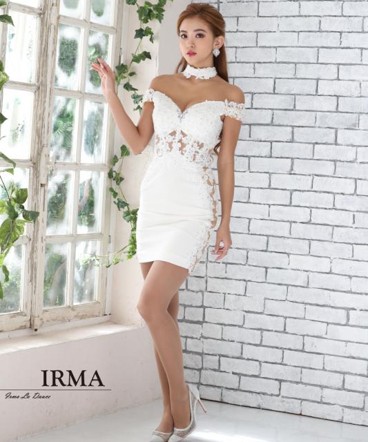 【IRMA】チョーカーレースシアータイトミニドレス