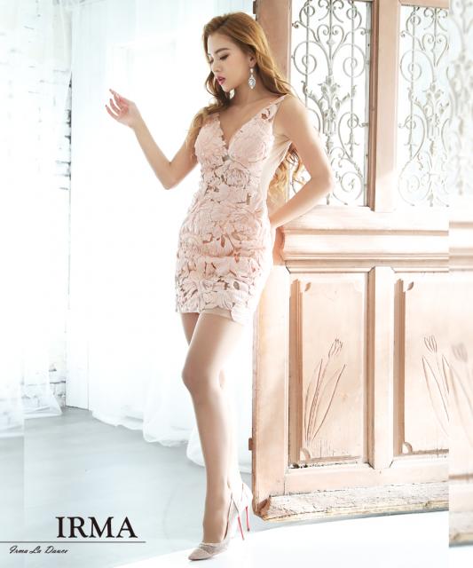 【IRMA】スパンコール刺繍レースタイトミニドレス