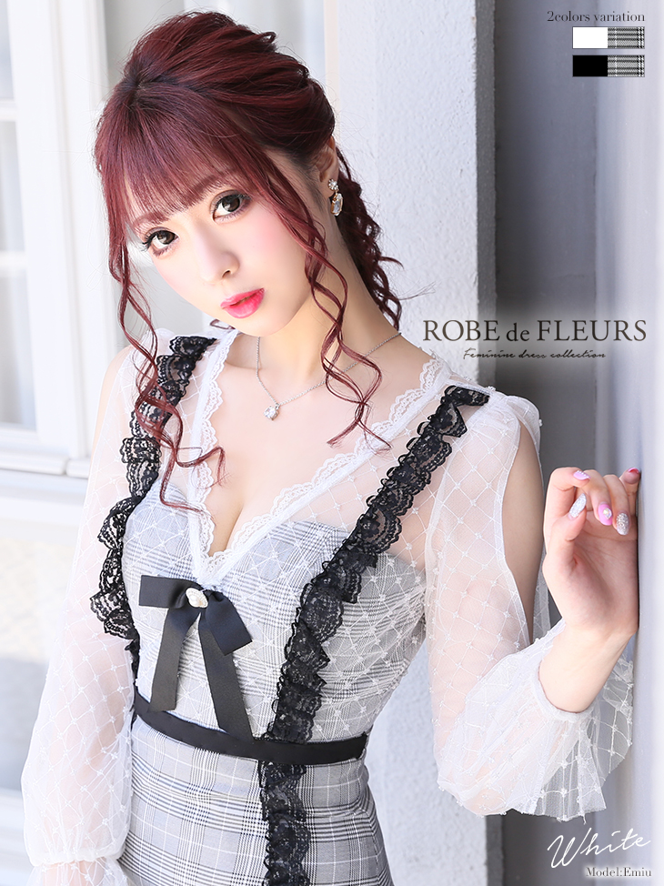 【ROBE de FLEURS】グレンチェック×フリルレースタイトミニドレス