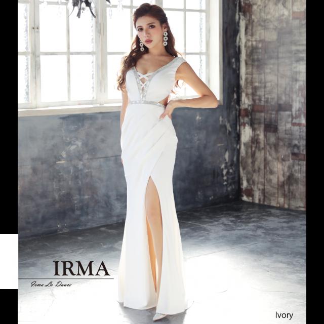 【IRMA】クリスタルテープサイドカットロングドレス
