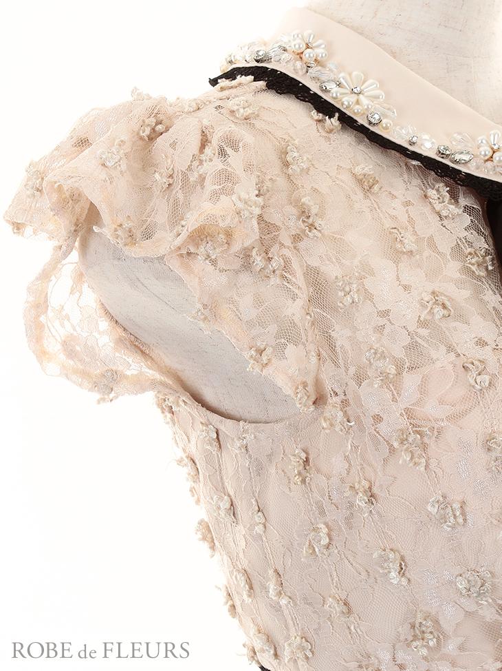【ROBE de FLEURS】ビジュー襟リボン×バイカラー切り替えタイトミニドレス