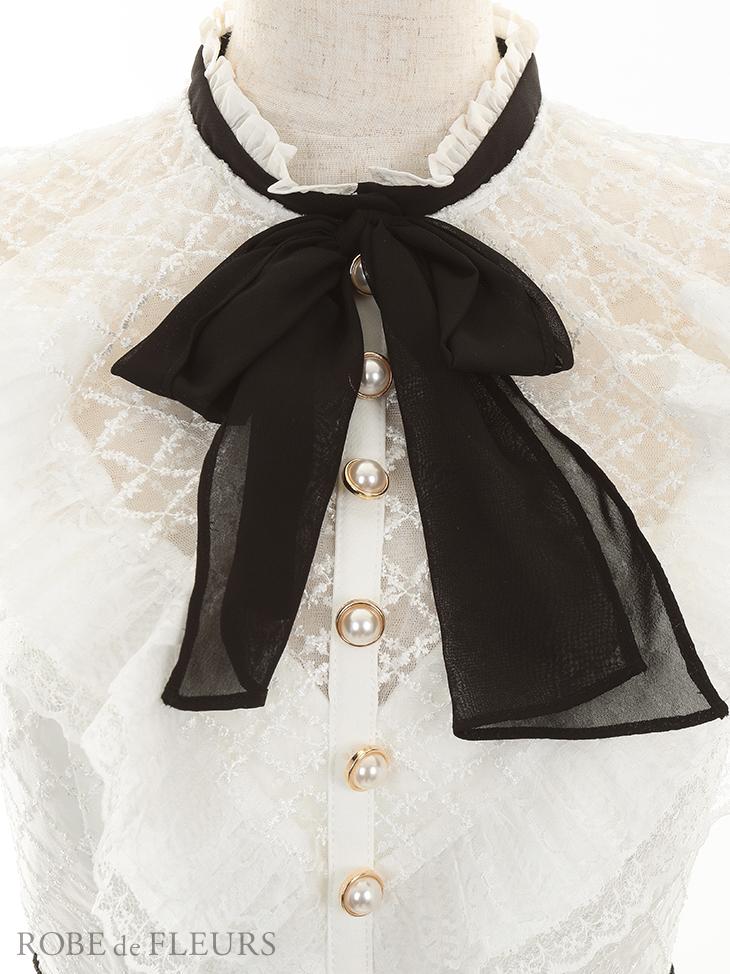 【ROBE de FLEURS】総刺繍レース×ハイネックリボンタイトミニドレス