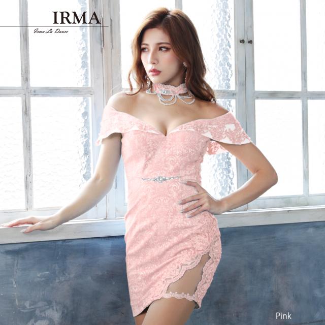 【IRMA】ジャガードオフショルタイトミニドレス