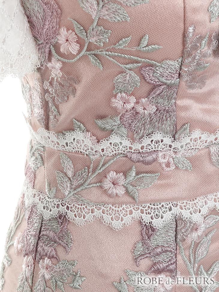 【ROBE de FLEURS】フラワー刺繍×リボンタイドレス