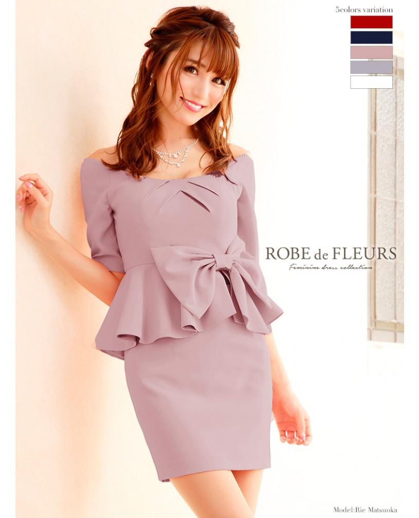 【ROBE de FLEURS】ウエストリボンオフショルダーセットアップミニドレス