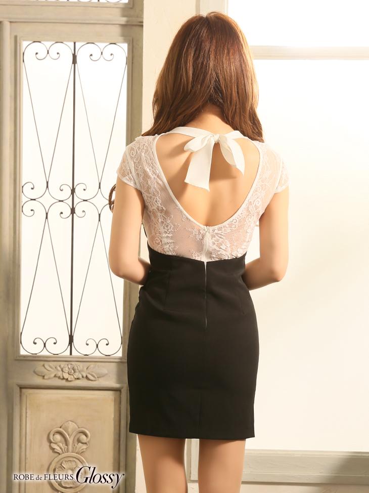 【ROBE de FLEURS Glossy】フロントジッパー×ストレッチタイトミニドレス