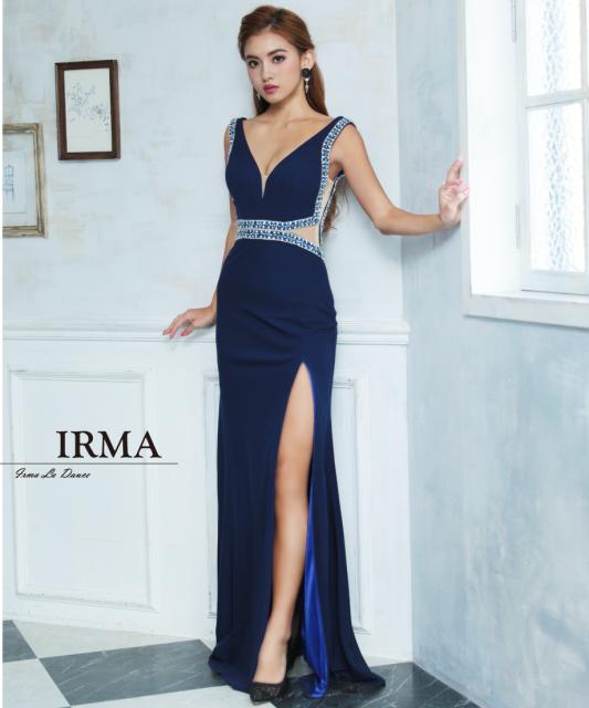 【IRMA】バイカラースリットロングドレス