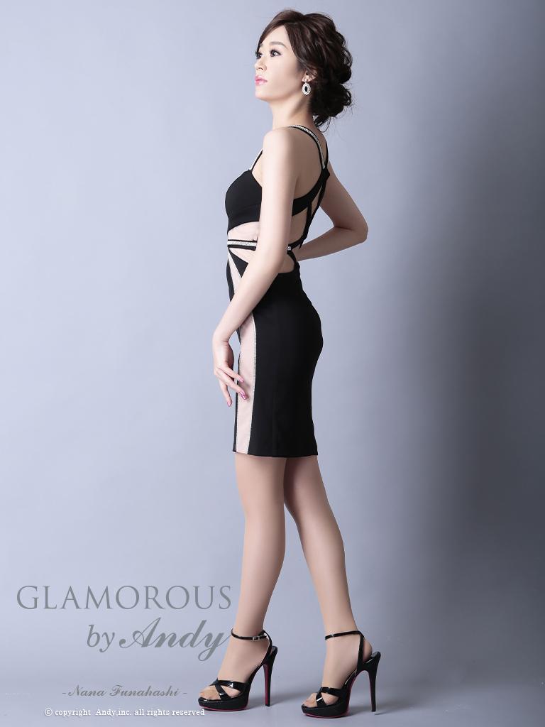 【Andy GLAMOROUS】ラインストーンシースルータイトミニドレス