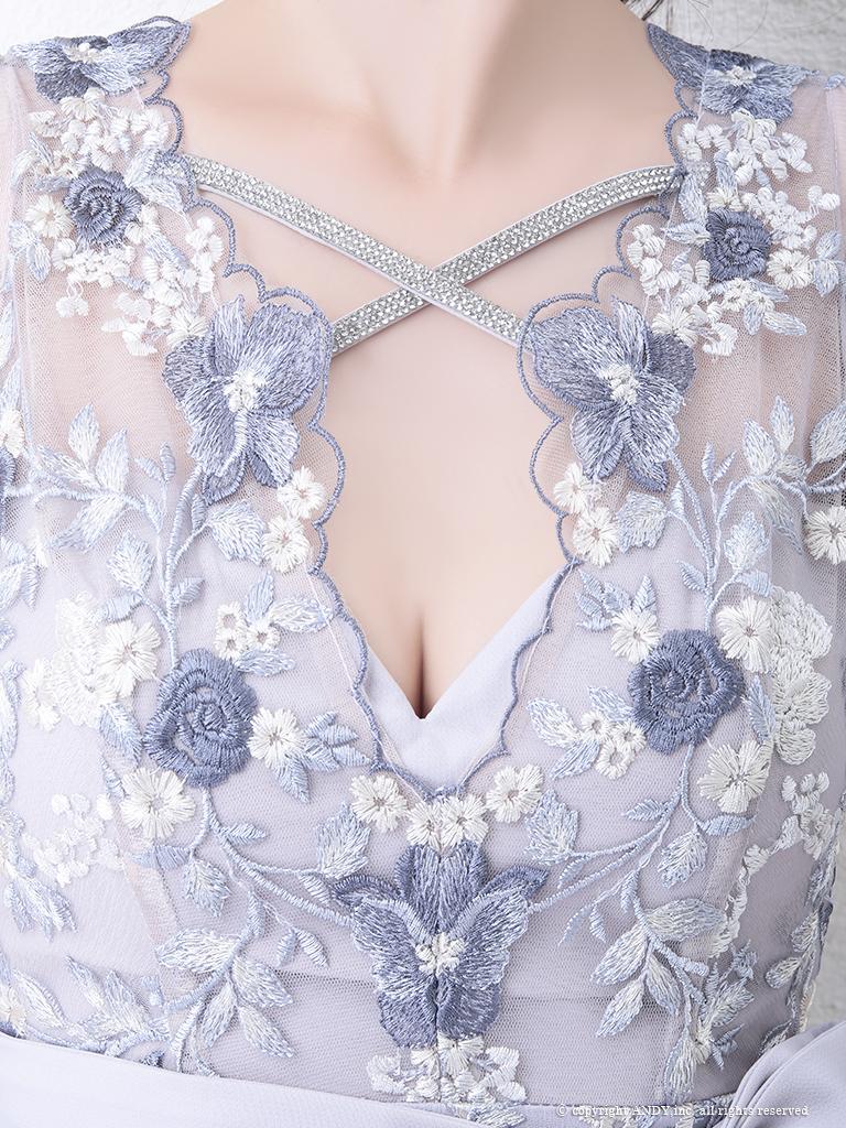 【an】ケミカルレースウエストリボンタイトミニドレス