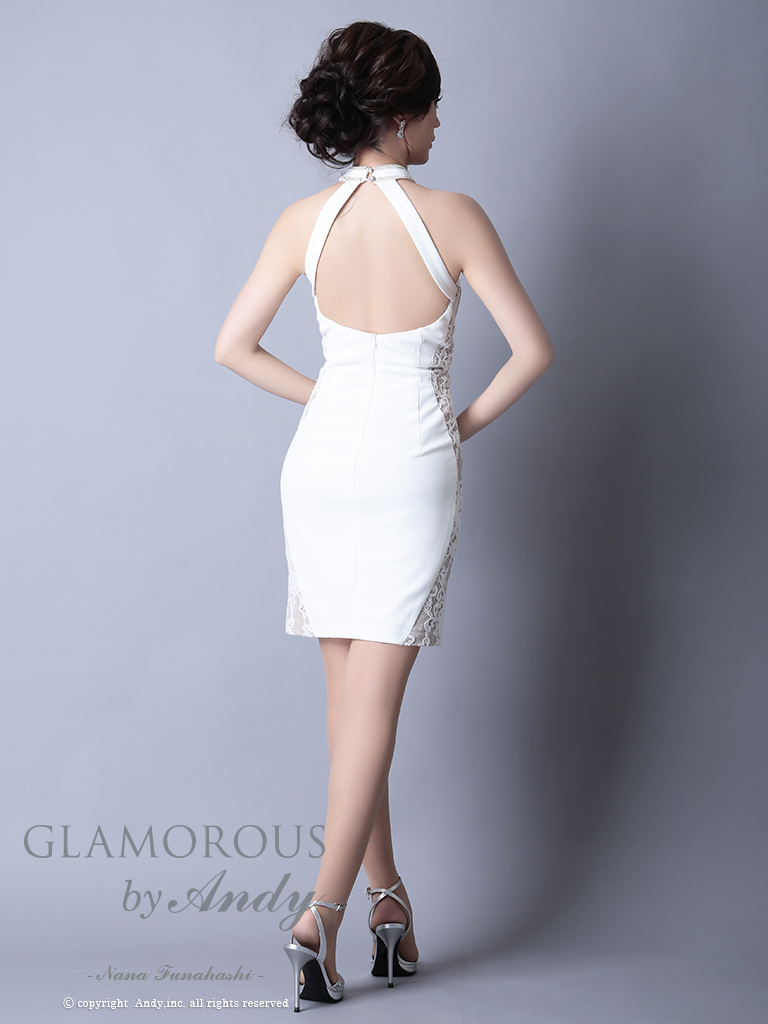 【Andy GLAMOROUS】チョーカー風ネックラインストーンタイトミニドレス