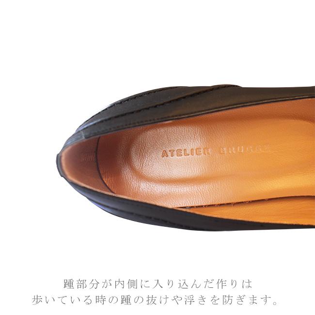脚を美しく魅せる7cmヒールの走れるパンプス 日本製<br>定番パンプス atelier brugge アトリエブルージュ定番ステッチラウンドパンプス 靴 春 夏 秋 冬20代 30代 40代 50代 ( s-ab7200cl )