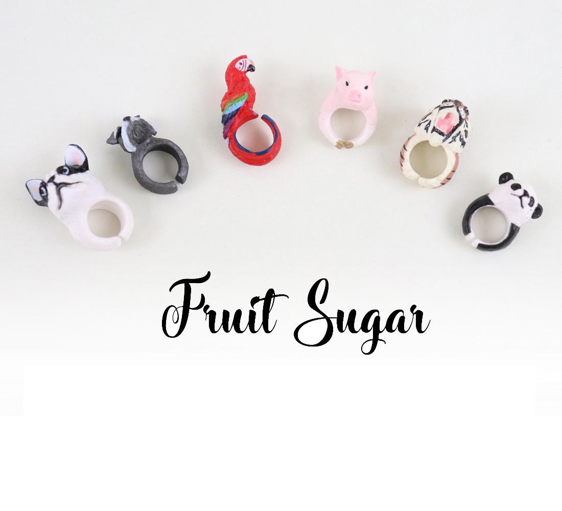 Fruit Sugar フルーツシュガー アニマル リング 動物 指輪 タイガー パンダ バード ドッグ シュナウザー ピッグ10号 11号 13号 14号   おしゃれ 太め 【誕生日 プレゼント】【メール便発送可】