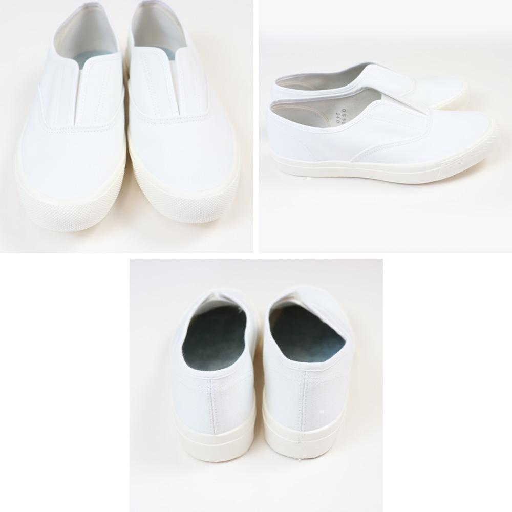 薄めで柔らかな生地感のスリッポン<br>( Moonstar )ムーンスター<br>KACKS ( カックス ) サイドコア スリッポン ユニセックス メンズ レディース スニーカー 靴 日本製 ホワイト オレンジ パープル ブラック 白 黒 ( kacks )