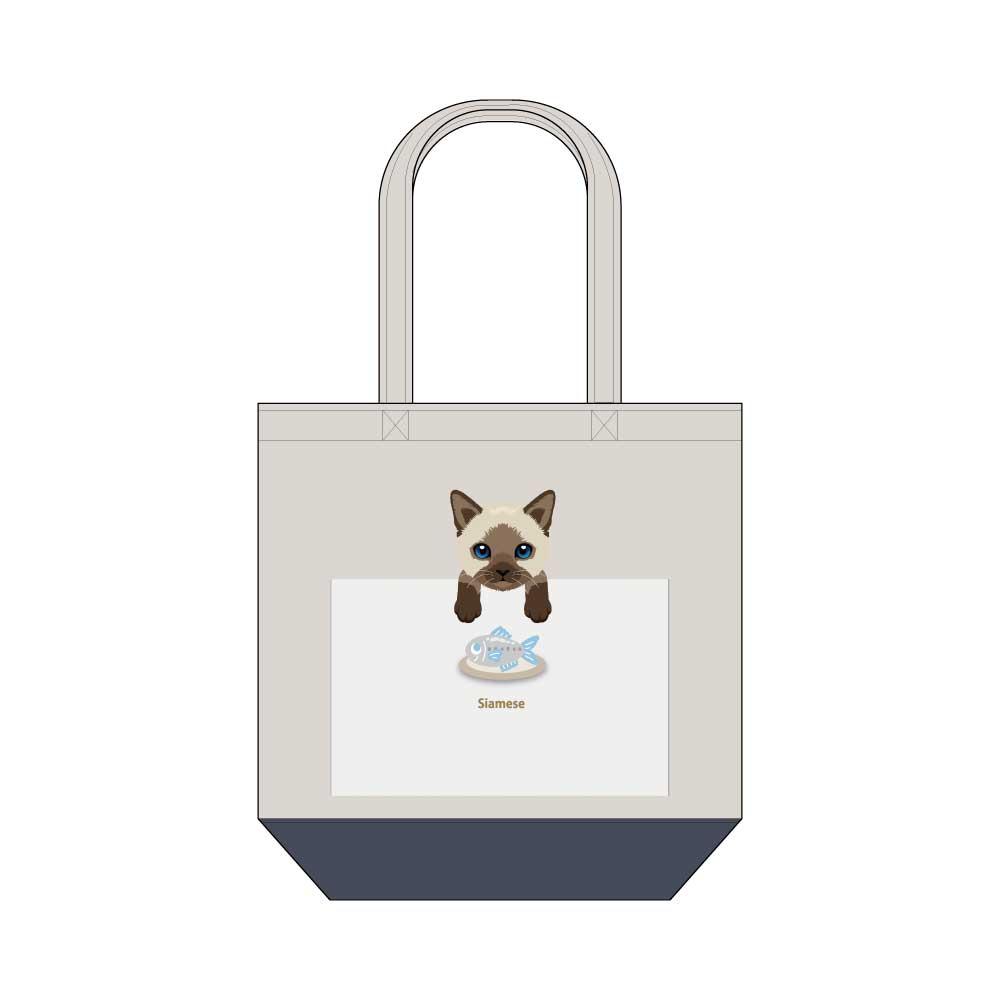猫と魚【シャム】キャンバストートバッグ Mサイズ