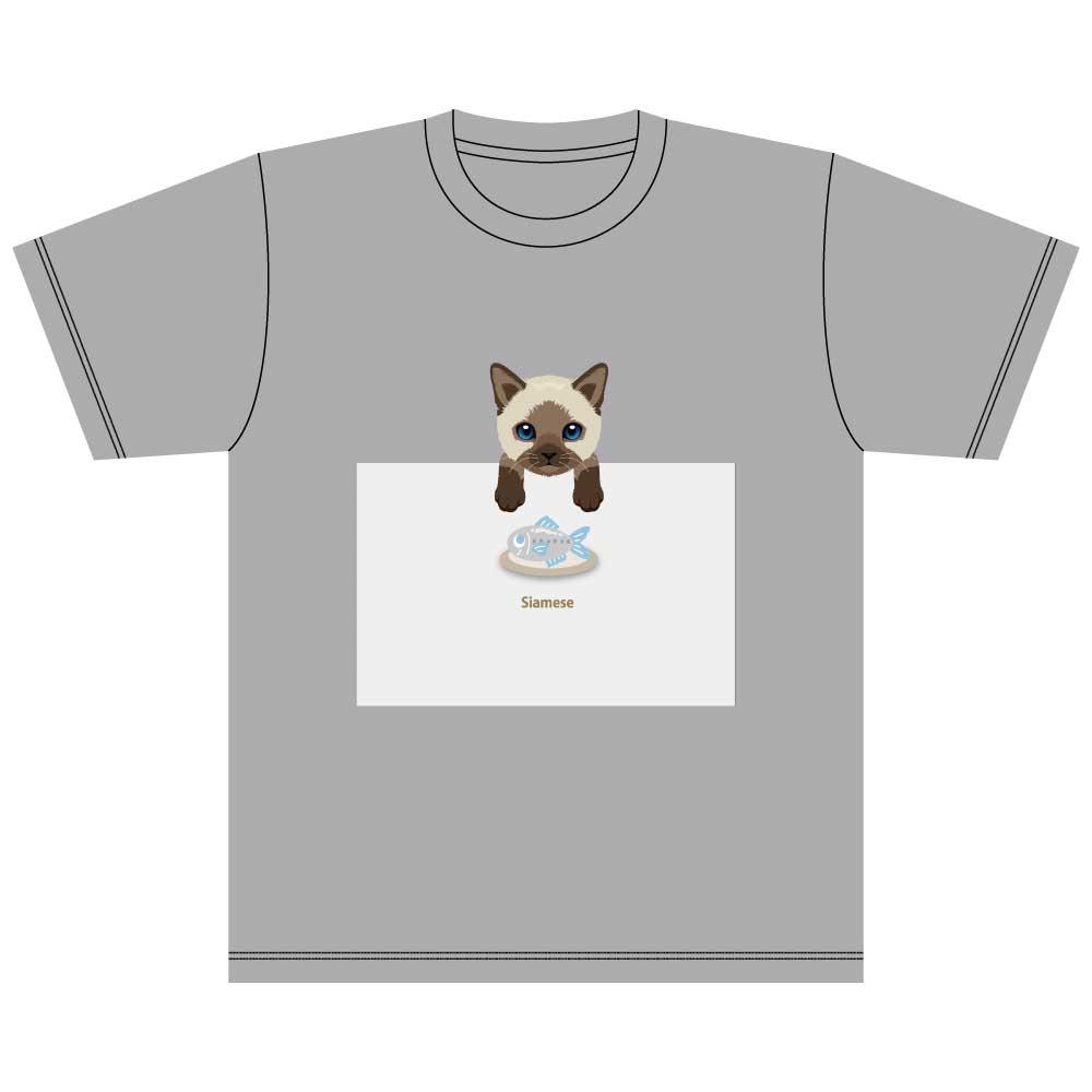 猫と魚【シャム】5.6オンス 綿Tシャツ ミックスグレー