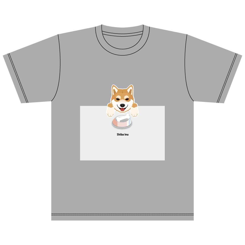 犬と骨【柴犬】5.6オンス 綿Tシャツ ミックスグレー