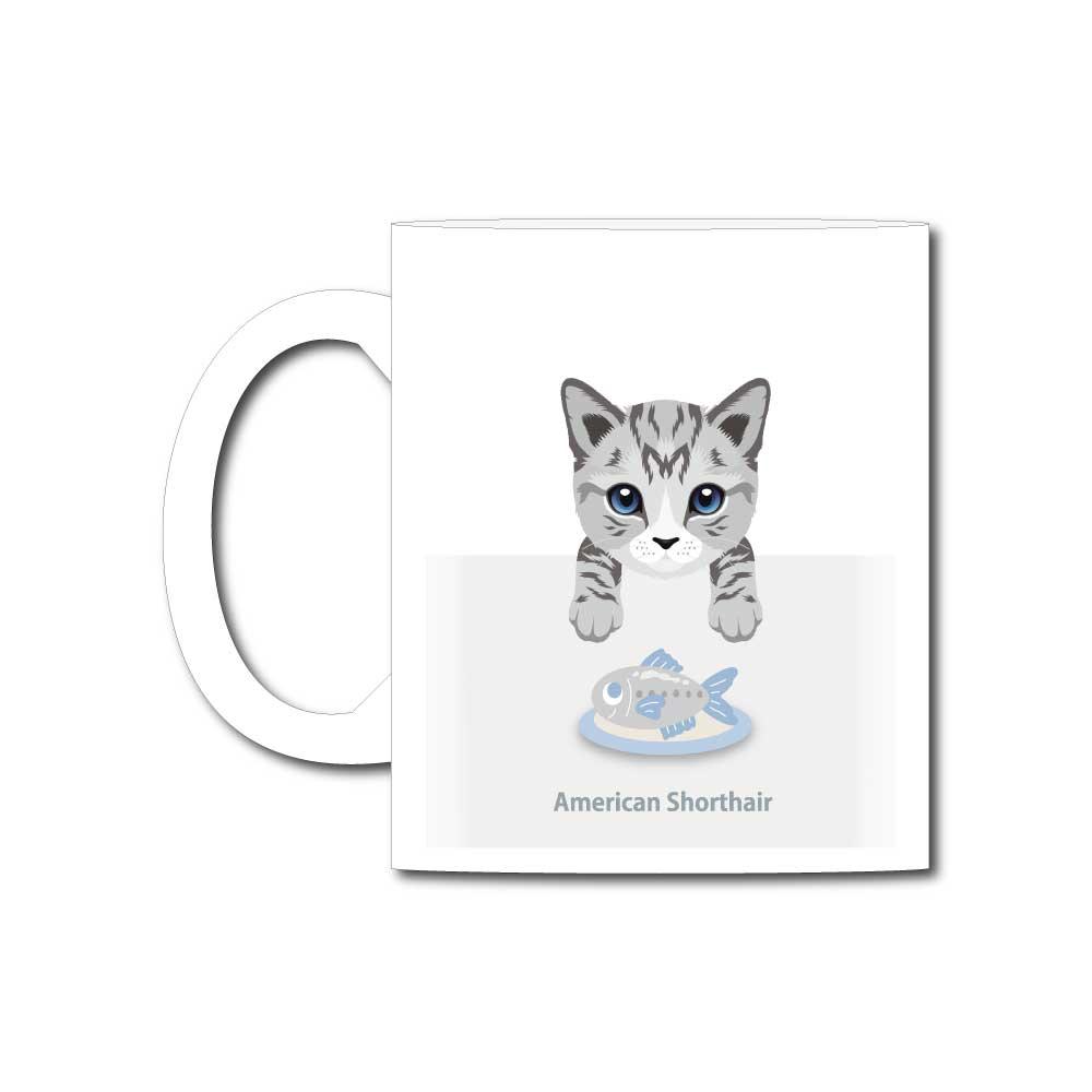 猫と魚【アメリカンショートヘア】11オンスマグカップ