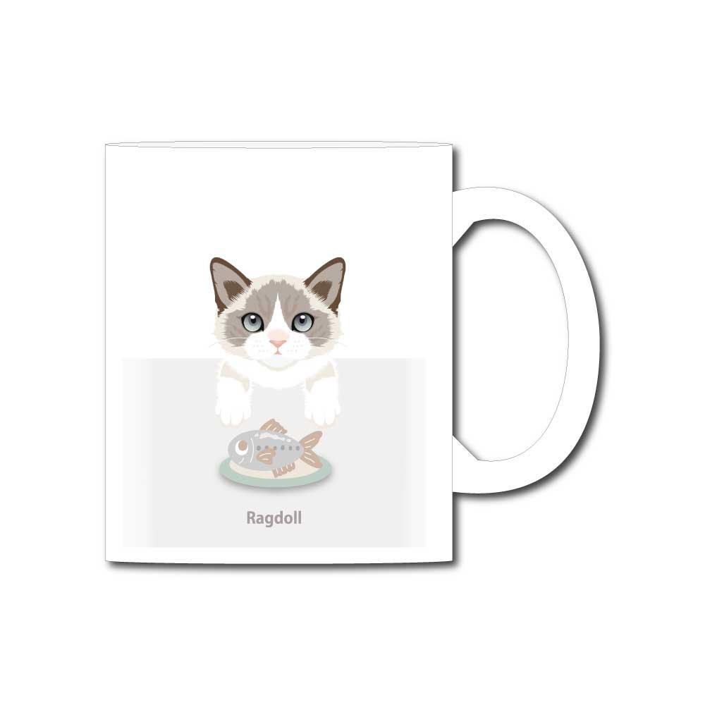 猫と魚【ラグドール】11オンスマグカップ