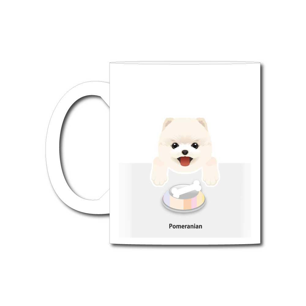 犬と骨【ポメラニアン】11オンスマグカップ