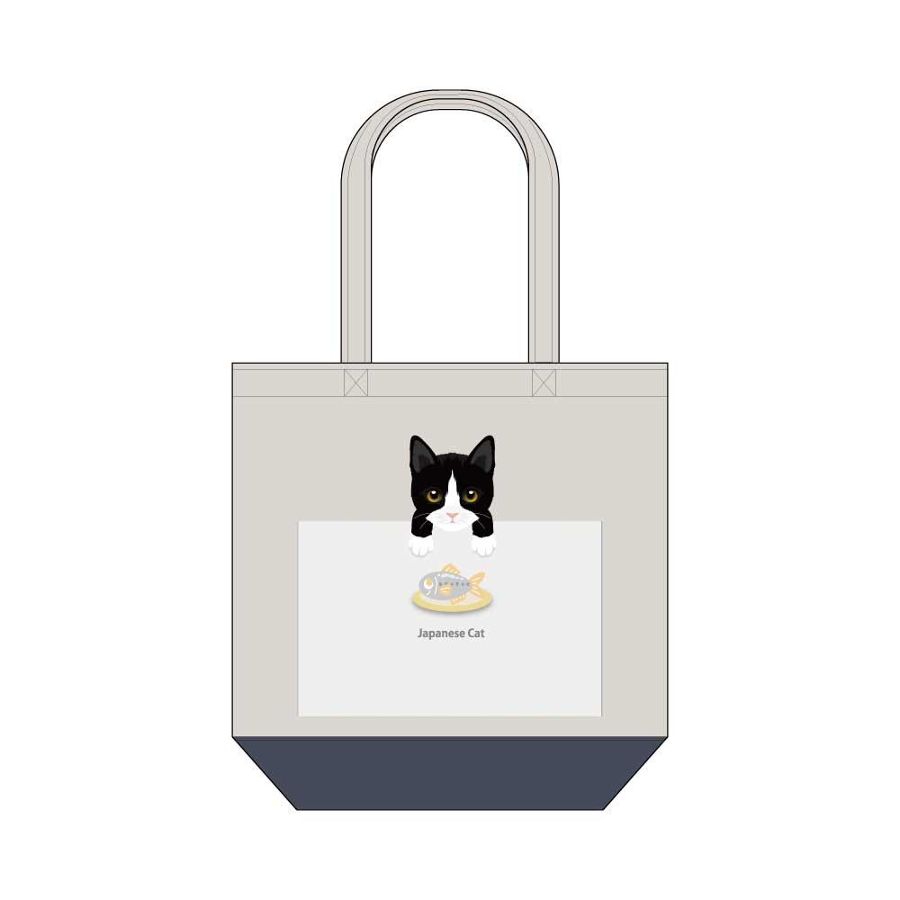 猫と魚【ジャパニーズキャット】キャンバストートバッグ Mサイズ