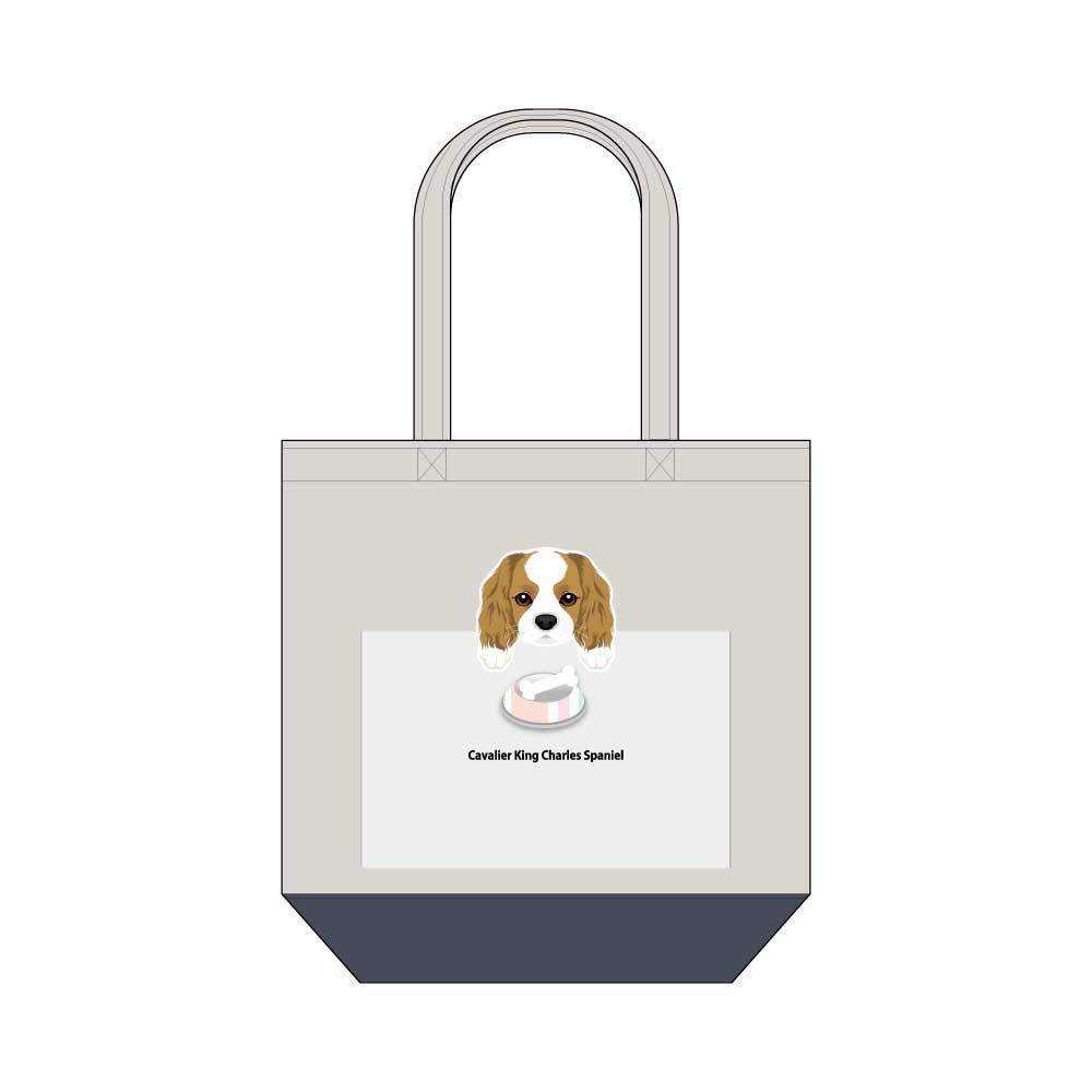犬と骨【キャバリアキングチャールズスパニエル】キャンバストートバッグ Mサイズ