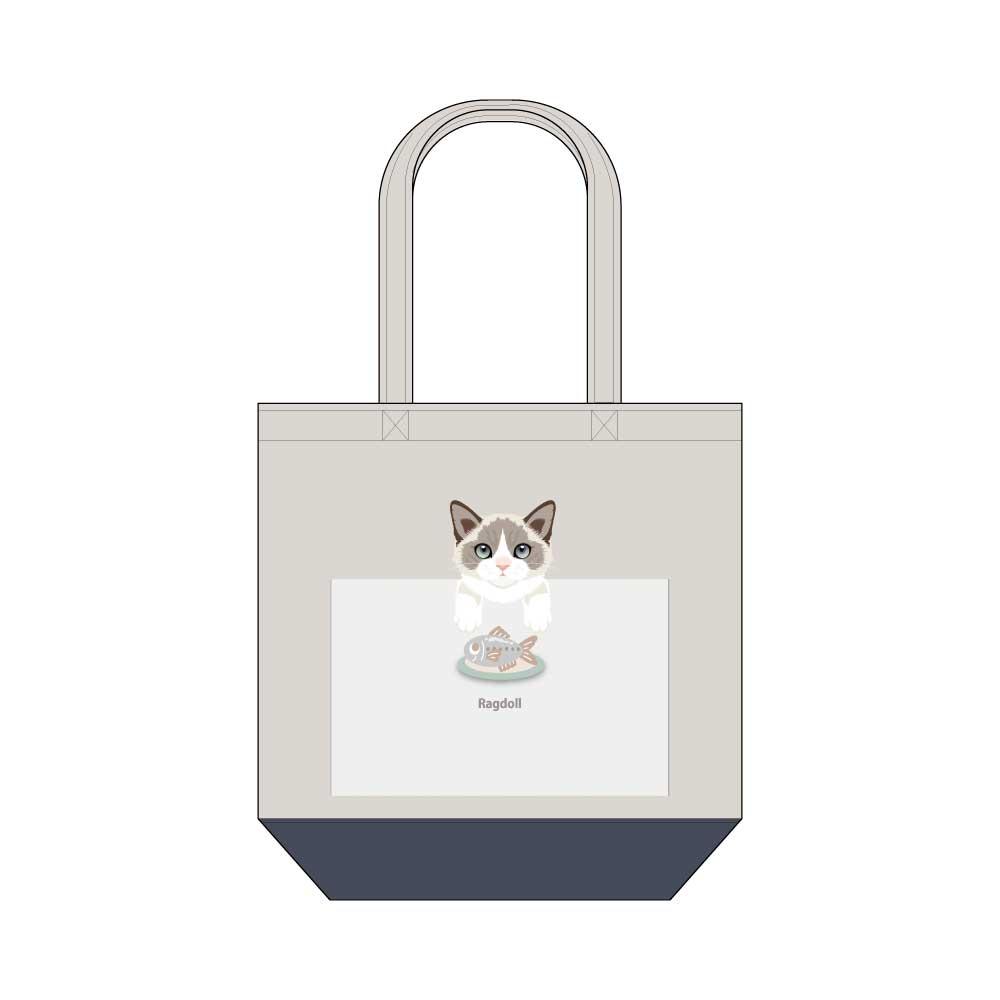 猫と魚【ラグドール】キャンバストートバッグ Mサイズ
