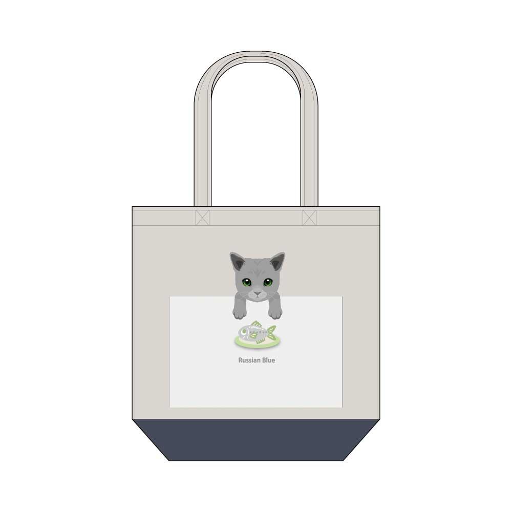 猫と魚【ロシアンブルー】キャンバストートバッグ Mサイズ