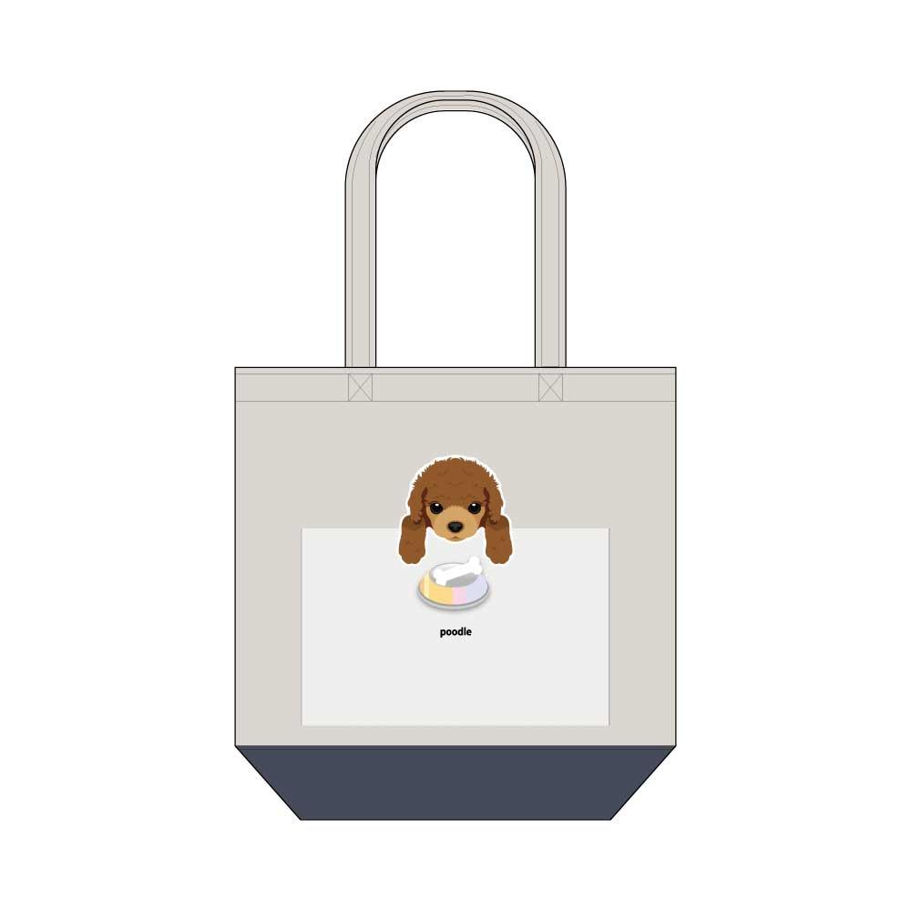 犬と骨【プードル】キャンバストートバッグ Mサイズ