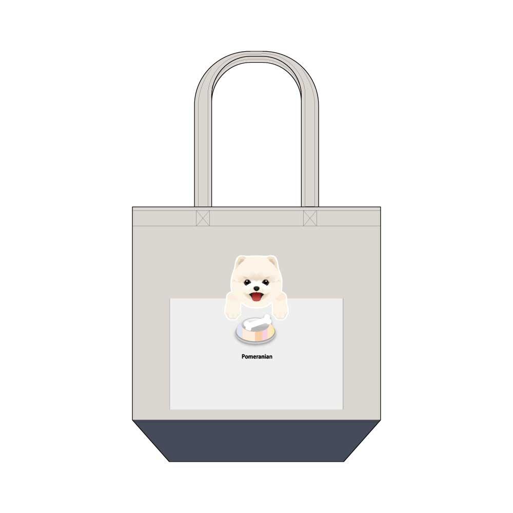 犬と骨【ポメラニアン】キャンバストートバッグ Mサイズ