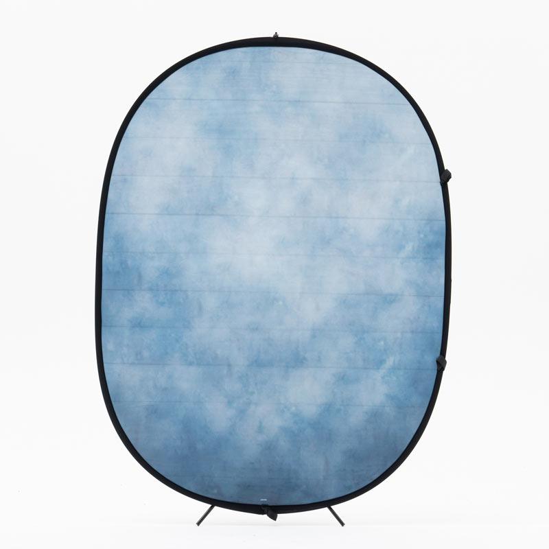 リバーシブル折り畳み背景1.5×2m 白木目調×ブルー系ムラ