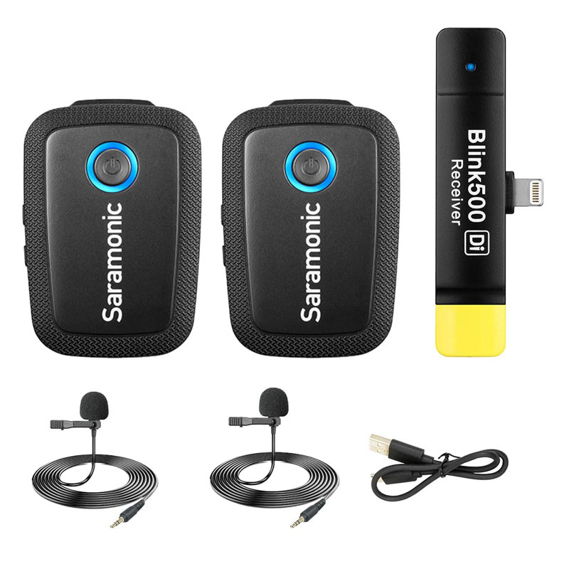 Saramonic Blink 500 B4  iPhone/iPad用 2.4GHzワイヤレスラベリアマイクセット(マイク2本+レシーバー1台)技適認証済