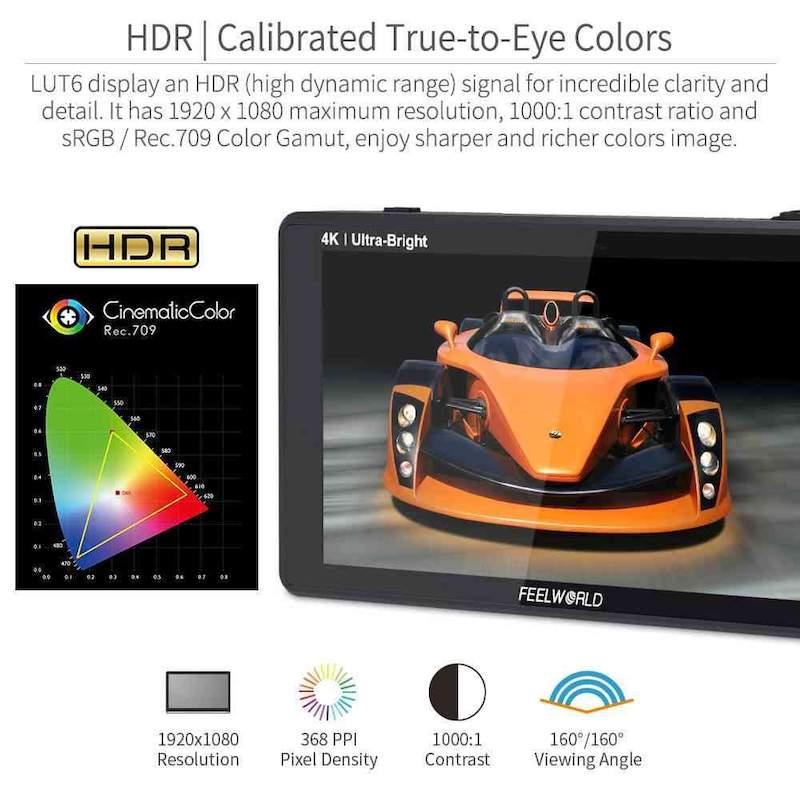 6インチLUT タッチスクリーンフィールドモニター(SDI/HDMI端子)