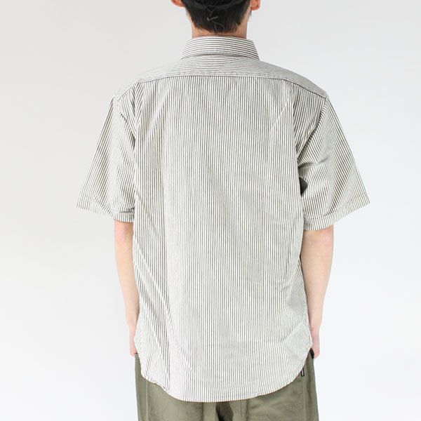 ヒッコリーシャツ メンズ 日本製 半袖シャツ ヒッコリーワークシャツ