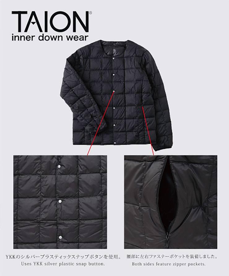 TAION インナーダウン クルーネックボタン インナーダウンジャケット メンズ TAION-104