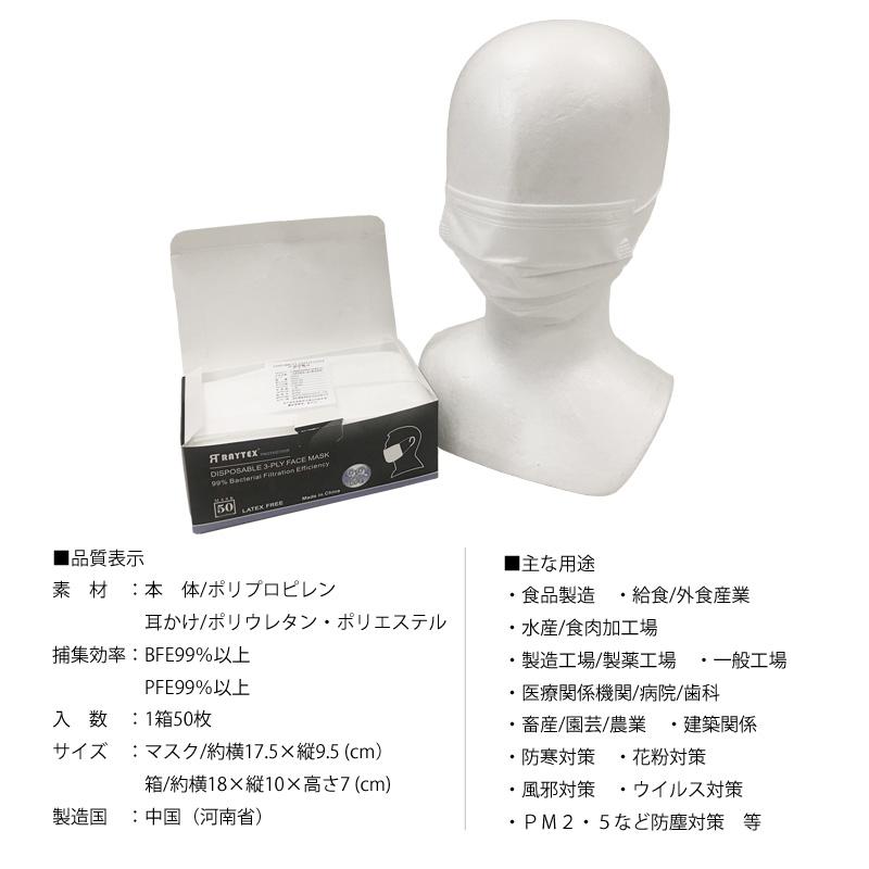 不織布マスク RAYTEX RT3PLW 3層構造 花粉・PM2.5 ハウスダスト ウイルス飛沫 1箱/50枚入り