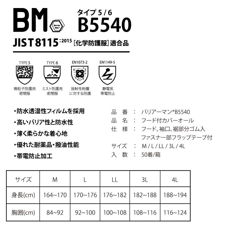 バリアーマン B5540 SF素材 防護服 50着/箱