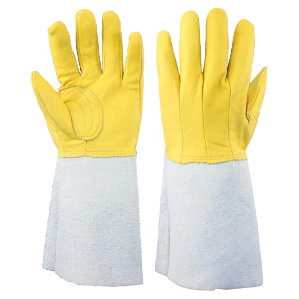 牛床革手袋 コンビ 5本指背縫い 溶接用 :1712-7 1双/袋 長タイプ