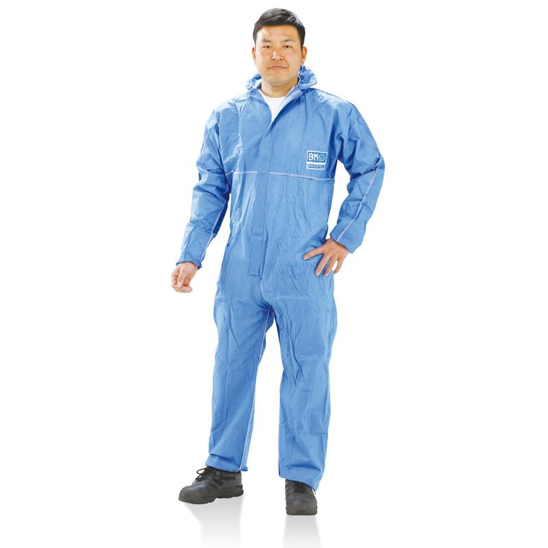 バリアーマンP6040B SMMS素材 防護服 ブルー 50着/箱