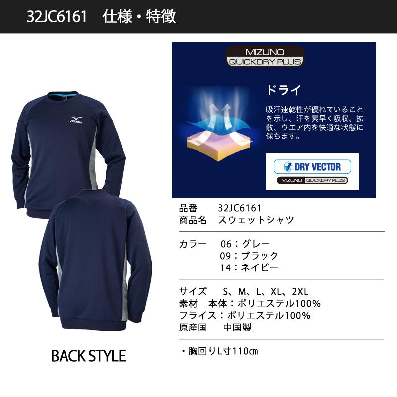 【完売】ミズノ(MIZUNO) 32JC6161 スウェットシャツ トレーナー