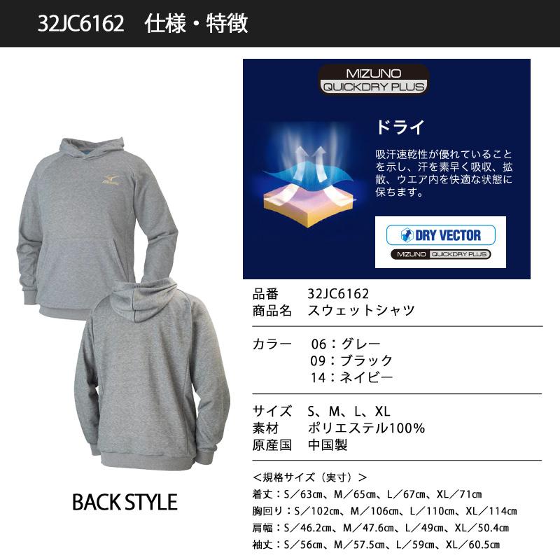 【完売】ミズノ(MIZUNO) 32JC6162 スウェットシャツ 長袖パーカー
