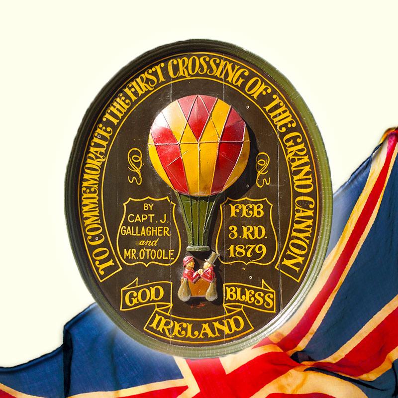 【中古】アンティークハンドメイドウッドサイン 《Irish Hot Air Balloon》 ※本場イギリス直輸入!!