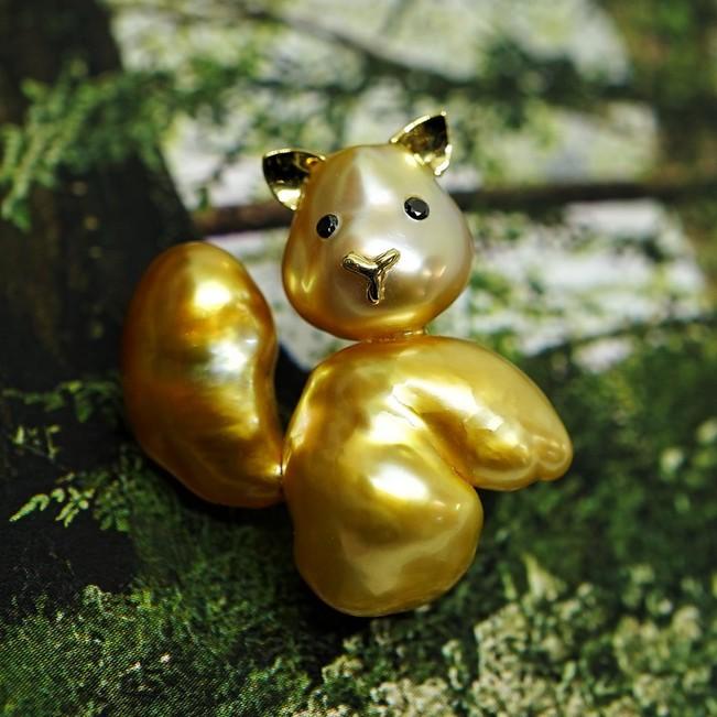 K18 ゴールドケシパール リス タイニーピン