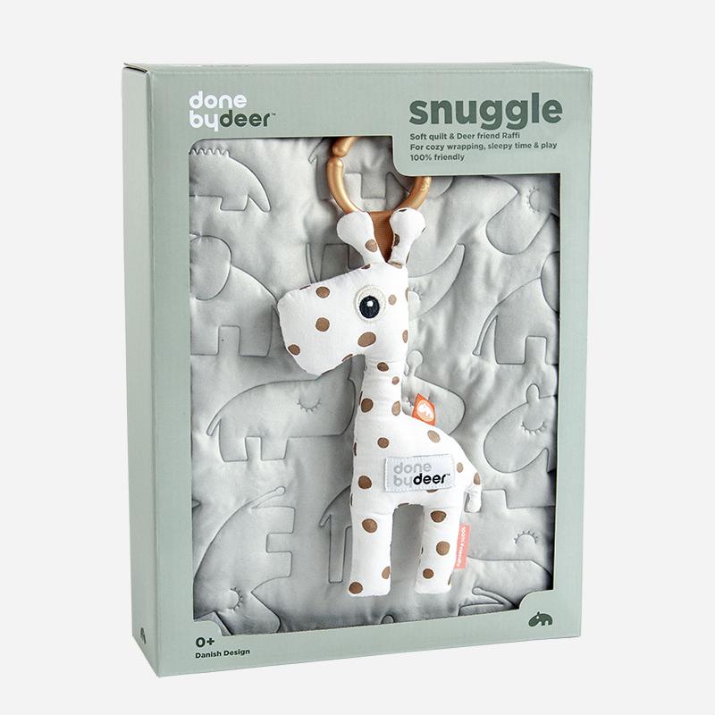 [送料無料] Done by Deer/キルトラグ トイギフトセット ラフィ Quilt & Raffi giftbox 80x100 Sleepy Grey ダンバイディア 北欧 ベビー