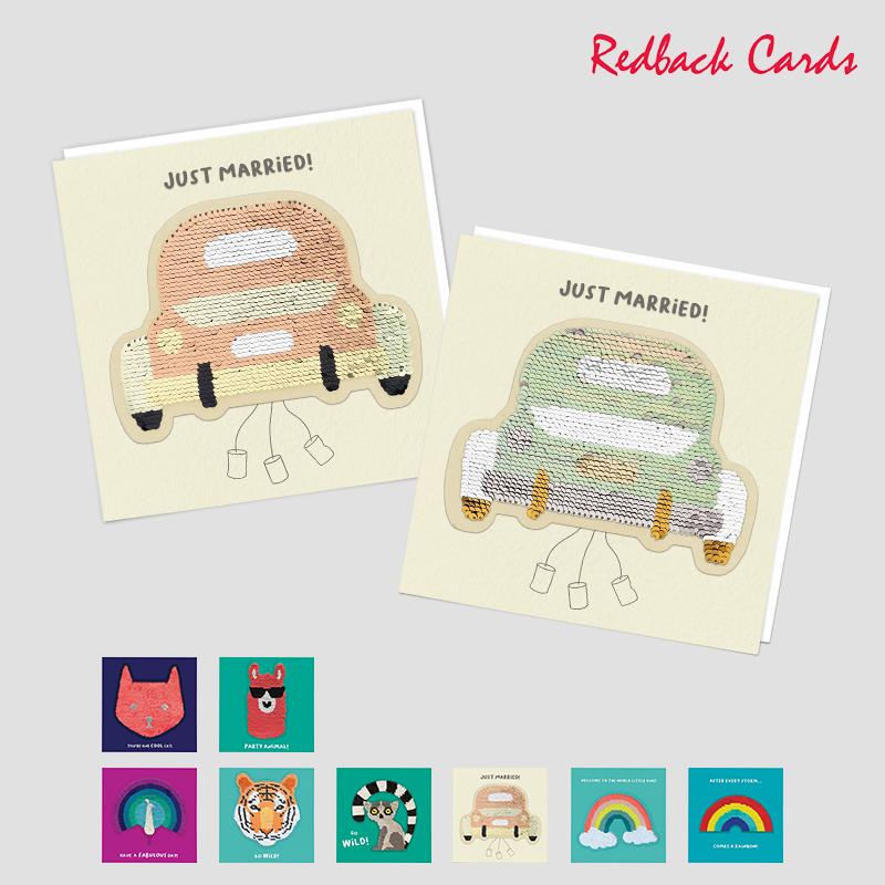 Redback Cards スパンコール付メッセージカード ANIMALS&EVENTS グリーティングカード 出産祝い ウェディング 動物