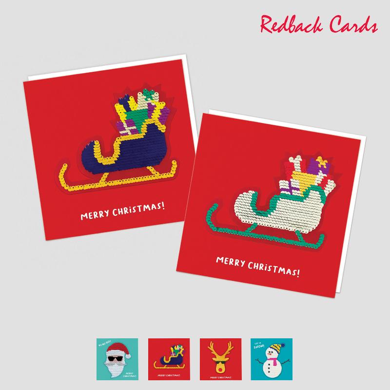 Redback Cards スパンコール付メッセージカード MERRY CHRISTMAS グリーティングカード クリスマス カード