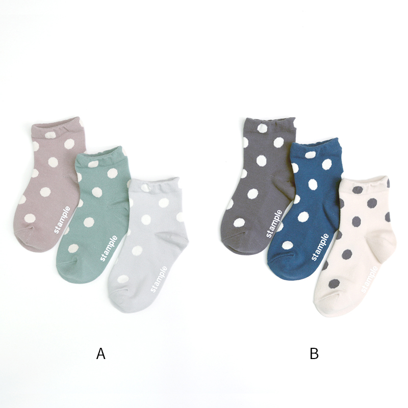 [クリックポスト便送料無料]stample(スタンプル)/スタンダードドットショートソックス キッズ 靴下 3足組