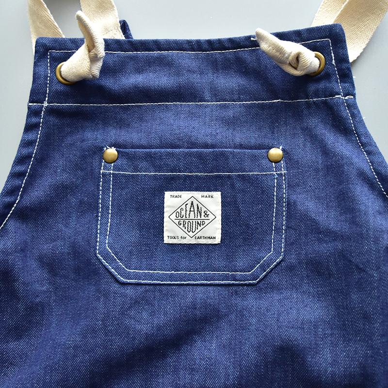 Ocean&Ground(オーシャンアンドグラウンド)/エプロンSET COOKDAY BLUE BLUE 入園・入学準備 新一年生 エプロン 三角巾 セット デニム 男の子 女の子