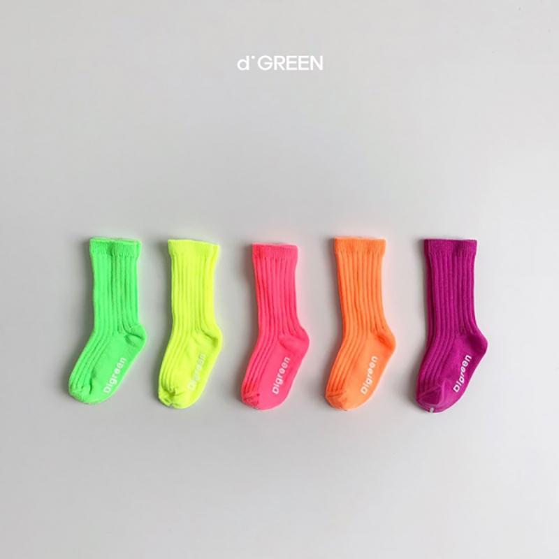 送料無料 digreen/neon socks 5足セット ディグリーン ネオンソックス d'green 靴下 キッズ 子供 dgreen クリックポストP
