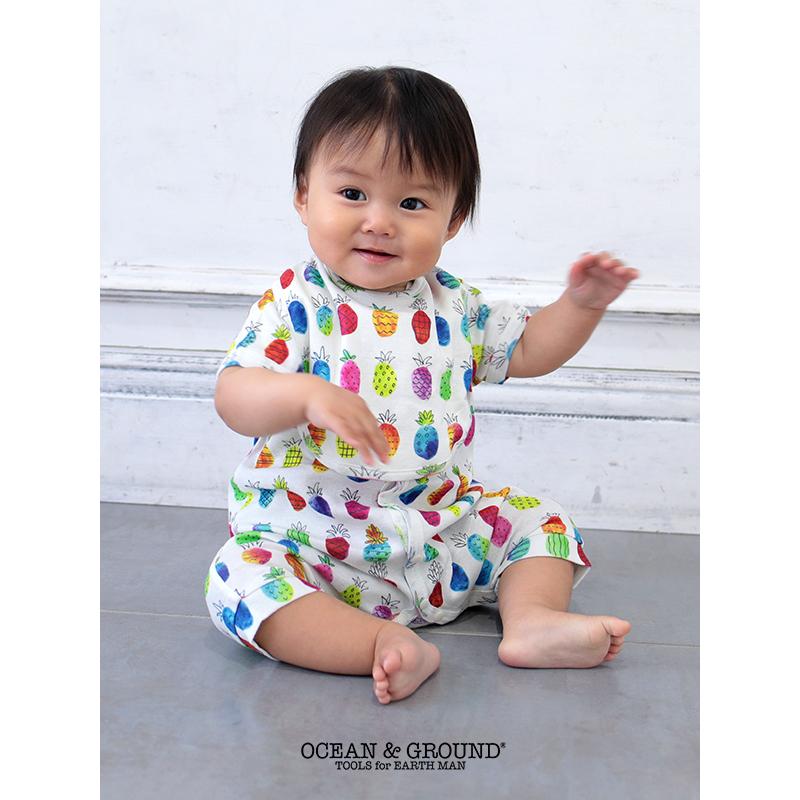 [ラッピング付]Ocean&Ground(オーシャンアンドグラウンド)/半袖ロンパース&スタイセット 出産祝い 出産準備