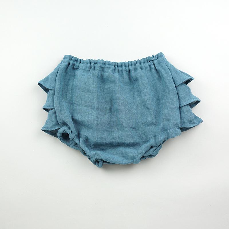 [送料無料] mimi poupons(ミミプポン)/フリル リネンパンツ 70cm〜90cm ブルマコーデ 1歳 誕生日